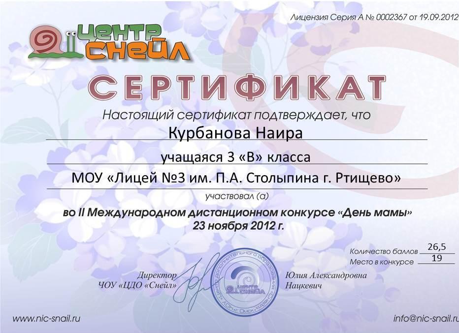 Сертификаты участия зорин л